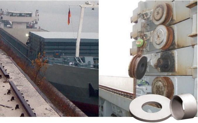 Шайбы и опоры скольжения в телескопических крышках люка